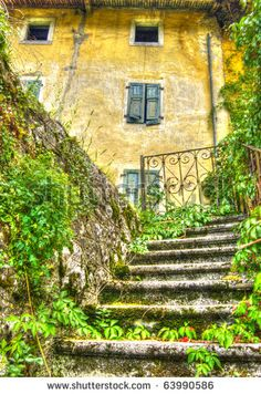 Steps To A Derilict Italian Villa In Lumbardy Northern Italy Stock Photo 63990586 : Shutterstock Italian Home, Italian Villa, Rustic Italian, Stairway To Heaven, Northern Italy, Tuscan Style, Stairways, Italy Travel, Tuscany