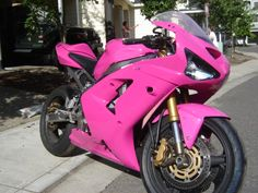 ZX6R, painted Hot pink! SOOON i will have my own bike! I just have to convince Jerrad into it :D