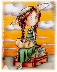 Kit and Clowder - Anne of Green Gables stamp! I have no need for this, but want one just because it's Anne :)Skin: Hair: Dress: Hat/Bag: Suitcases: Ground: Copic Art, Coloring Tutorial, Spectrum Noir, Woman Illustration, Holly Hobbie, Online Coloring, Anne Of Green Gables, Sunset Sky, Weekend Fun