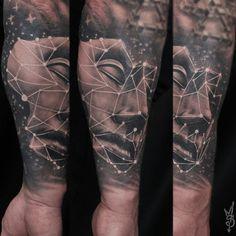 Completely healed cosmic face.  Artist Martin Silin #face #facefromspace #space #portrait #tattoo #geometry #astrology #blackandgray #blackngray #blaskandwhite #stars #mask #riga #tattooinriga #sporta2 #tattooed #tattooist #tattooart #art #tattooink  #ink