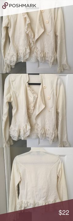 Rue 21 Cream Sweater with Lace Finishes Soft material with lace finishes. Can be worn for a casual business Friday, over dresses, or a nice top with a pair of jeans. Rue 21 Sweaters