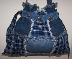 Drawstring Recycled Denim Rag Quilted Blue Plaid Tote Bag Purse  $29.00
