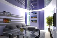 Blue lacquer stretch ceiling in a living room. Wonderful combination of colors create a special atmosphere.