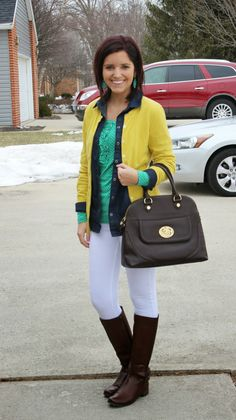 yellow cardigan + chambray shirt + long sleeve tee + white pants + brown boots (Classy In The Classroom)
