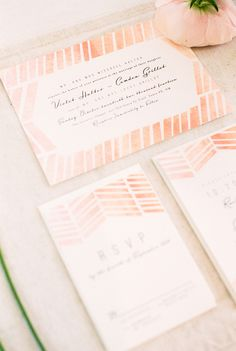 #paper-goods, #chevron  Photography: Anouschka Rokebrand - anouschkarokebrand.com  Read More: http://www.stylemepretty.com/living/2014/05/07/pink-gold-dinner-party-get-the-look/
