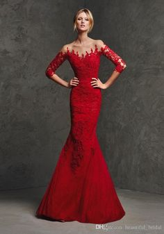 New 2015 Fall Long Evening Gowns Sleeves Mermaid Prom Dresses Sheer Neck Red Trumpet Formal Dress For Women Plus Size