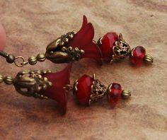 Lucite flower earrings CRUSHED VELVET -