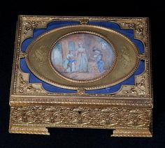 French gilt-bronze box with a signed miniature - by Estate Galleries Auction