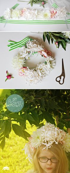 DIY Boho fairy flower crown, headpiece, or headdress - Fabric flowers, ribbon, and hot glue! - SmallforBig.com