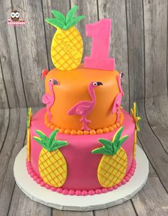 Pineapple cake, Hawaiian cake, Hawaiian Party Cake, Aloha Cake, Flamingo Party Cake, Flamingo Cake