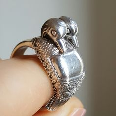 Vintage French Silver Duck Ring Hallmarked Size 6.75 U.S. by PinyolBoiVintage on Etsy