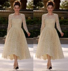 Bateau Tea Length Lace Mother Of The Bride Dress A Line Full Long Sleeve Floor Length Elegant Mother Dresses/ Evening Gowns J0an Rivers Joan Joan Rivers From Crystalbridalgown688, $138.22| Dhgate.Com