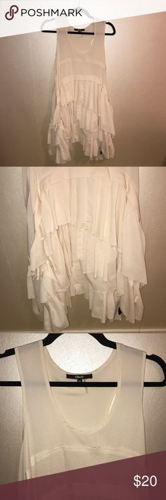 Off White Distressed Ruffle Dress (M) This dress is fun and flirty. It can be dressed up or down - with heels and a necklace or boots and a leather jacket. It's day and night. Good condition. Black Dresses Asymmetrical