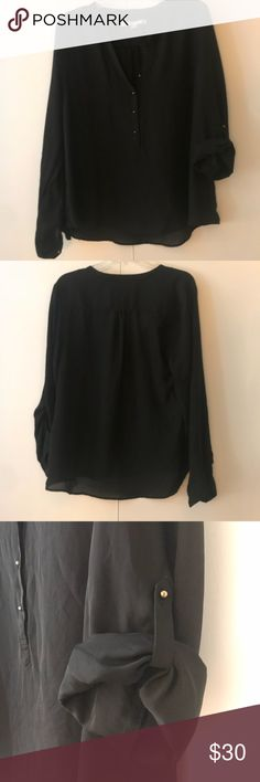 Black LC Blouse Lauren Conrad Blouse black with gold buttons. Sleeves can get folded up or worn down! LC Lauren Conrad Tops Blouses
