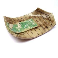 Beach Hut Dish with Green Door by Charlotte Hupfield Ceramics