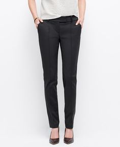 Luxe faux leather trim meets leg-lengthening pintucks for modern polish. Pintuck Stretch Cotton Slim Pants l Ann Taylor