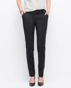 Luxe faux leather trim meets leg-lengthening pintucks for modern polish. Pintuck Stretch Cotton Slim Pants l Ann Taylor