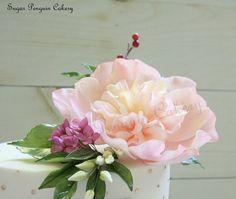 pink peony, hydrangeas and buds