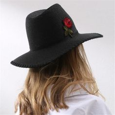 09fec0b6b95 Rose flower Embroidered straw panama hat for women foldable wide brim sun  hats