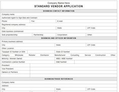 Sample Vendor Registration Form   Documents In Word Pdf For
