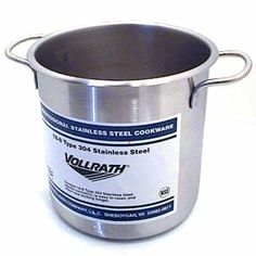 """7 1/2 Quart Stainless Steel Stock Pot (12-0164) Category: Stock Pots by The Vollrath Company. $65.99. Sold Individually. Item #: 12-0164. Solid weight stainless steel handles for durability and easy cleaning. 18-8 stainless steel. Features arc-sprayed aluminum bottom to distribute heat evenly. NSF. Capacity: 7.5 Qt.Depth: 8 1/4""""Gauge: 24Diameter: 8 3/8""""Lid sold separately Customers also search for: Restaurant Supplies\Kitchen Supplies\Cookware\Stock Pots restauran..."""