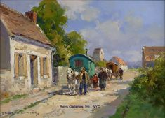 Travelers passing through a village par Edouard LéonCortès Selling Paintings, City Art, Beautiful Paintings, Oil On Canvas, Gallery, Sketch Ideas, Travel, Art Ideas, Landscapes