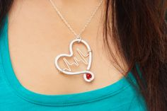 Heartbeat Inside Hammered Heart with One Red Crystal by wirewrap, $28.00 ......Desiree I thought you'd like this one!