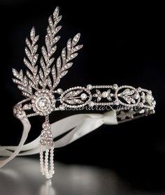 Great Gatsby Wedding Headpiece with Rhinestones and Pearls