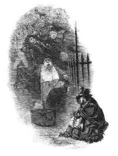 No longer able to help the poor woman and her child - By John Leech