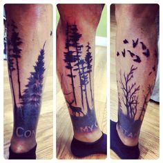 Tattoos calf sleeve tree my constant | My Style | Pinterest