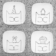 Happy cats with stuff on their heads. For your cookies, cupcakes or chocolates. Happy cats with stuff on their heads. For your cookies, cupcakes or chocolates. plate designs plate sets plate plate presentation dinner plate plate on wall photography Painted Ceramic Plates, Ceramic Painting, Ceramic Pottery, Ceramic Art, Pottery Painting Designs, Pottery Designs, Paint Designs, Sharpie Crafts, Diy Sharpie Mug