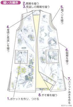 簡単手作り!シンプルな花柄のロングベストの作り方|ぬくもり Sewing Pillows, Dress Making, Girls Dresses, How To Make, Fashion, Patterns, Dressmaking, Dresses Of Girls, Moda