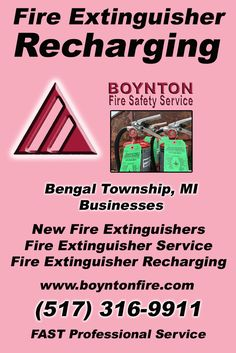 Fire Extinguisher Recharging Bengal Township, MI.  (517) 316-9911 Check out Boynton Fire Safety Service.. The Complete Source for Fire Protection in Michigan. Call us Today!
