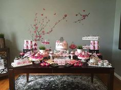 Lovely dessert table at a Japanese cherry blossom birthday party! See more party ideas at CatchMyParty.com!
