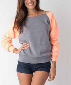 Look what I found on #zulily! Peach & Gray Boatneck Raglan Sweatshirt #zulilyfinds