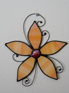 Orange Stained Glass Flower Suncatcher-Floral Stained Glass