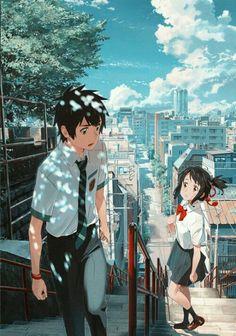 """Kimi no na wa """" Your name """" anime Poster Art Silk wall decor size Anime Vf, Manga Anime, Anime Boys, Cosplay Anime, Anime Kawaii, Mitsuha And Taki, Kimi No Na Wa Wallpaper, Your Name Wallpaper, Chibi"""