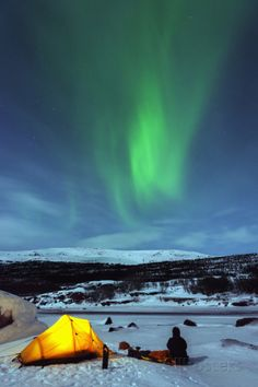 Aurora Borealis (Northern Lights) and Winter Camping on Kungsleden (The Kings Trail) Hiking Trail Photographic Print by Christian Kober at AllPosters.com