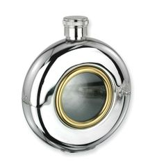 Glass Window Stainless Steel and Gold-tone 5oz Round Flask Perfect Gift Idea goldia. $45.58