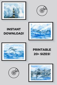 A set of four beautiful watercolor art digital prints of orcas, dolphins, lighthouse to decorate your home! This product was created using my original watercolor.