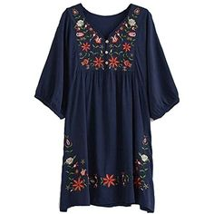 Special Offer: $18.88 amazon.com This style mexican blouse got 9 colors, it's a long tops for pettie girls, can wear as a dress. Very beautiful flowers embroidered, so cute and fashion, loosen, big ladies also fit well, can be wear as a maternity dress Kindly remind Material is...