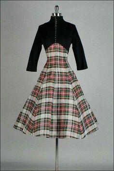 1950's plaid and black wool dress.