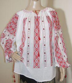 Hand stitched Romanian peasant blouse Visit Romania, Peasant Blouse, Silk Thread, Hand Stitching, Bridal Dresses, Cross Stitch Patterns, Hand Sewing, Ethnic, Folk