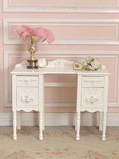Lovely 4 Drawer Shabby White Vanity Desk