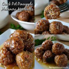 Crock Pot Pineapple Habanero Meatballs Jelly Recipes, Sauce Recipes, Crockpot Recipes, Cooking Recipes, Pineapple Habanero Recipes, Roasted Pineapple, Spicy Meatballs, Crock Pot Meatballs, Crock Pot Cooking