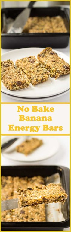 These no bake banana energy bars make a fantastic tasty snack that will help boost your energy levels and keep you fuller for longer. Stuffed full of healthy fruits seeds and nuts theyre refined sugar free and only 259 calories each making them perfect Healthy Sugar, Healthy Fruits, Healthy Snacks For Kids, Healthy Baking, Yummy Snacks, Yummy Food, Healthy Food, Healthy Bars, Healthy Shakes