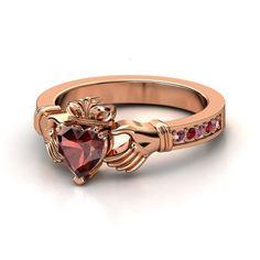 Heart Red Garnet 18K Rose Gold Ring with Rhodolite Garnet