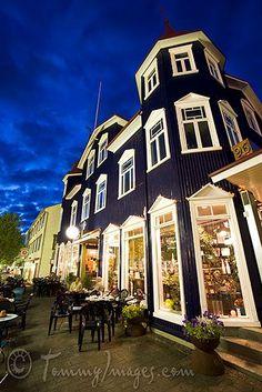 downtown Akureyri, Iceland - a dark blue restaurant