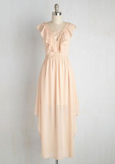Is It Too Late to Say Soiree? Dress - Solid, Casual, A-line, Maxi, Short Sleeves, Summer, Woven, Better, Long, Blush, Daytime Party, Beach/Resort, Boho, 70s