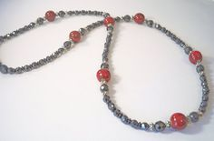 Hematite Necklace Black Magnetic Hematite w/ Red by BeadsNStyle, $38.25